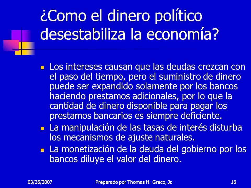 ¿Como el dinero político desestabiliza la economía