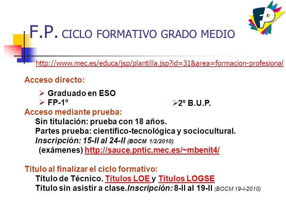 F.P. CICLO FORMATIVO GRADO MEDIO