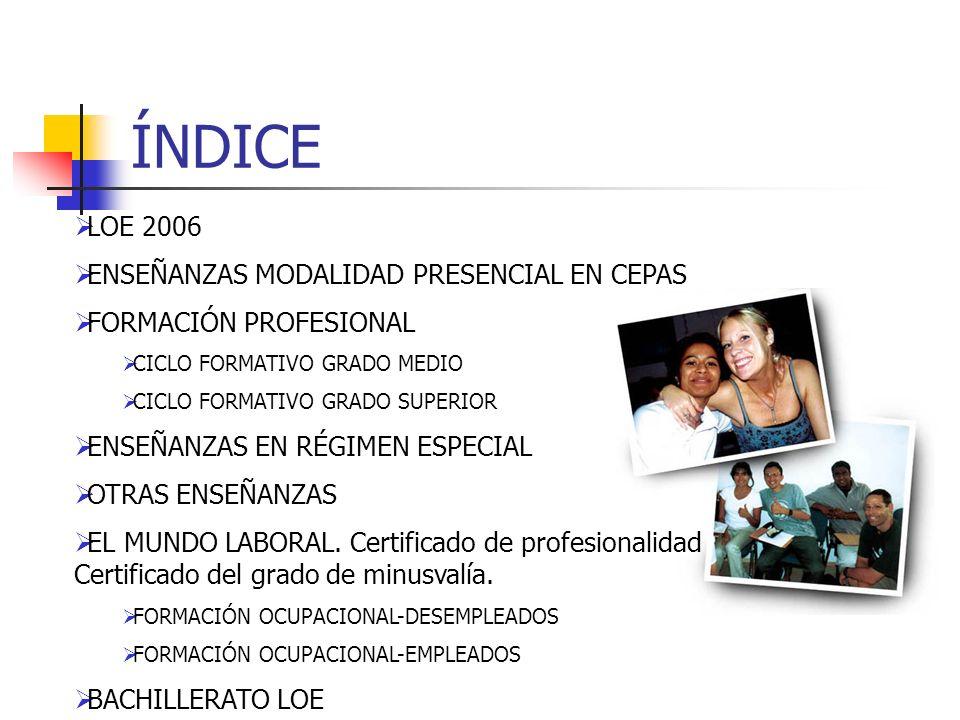 ÍNDICE LOE 2006 ENSEÑANZAS MODALIDAD PRESENCIAL EN CEPAS