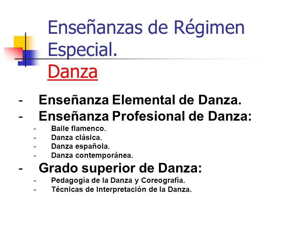 Enseñanzas de Régimen Especial. Danza