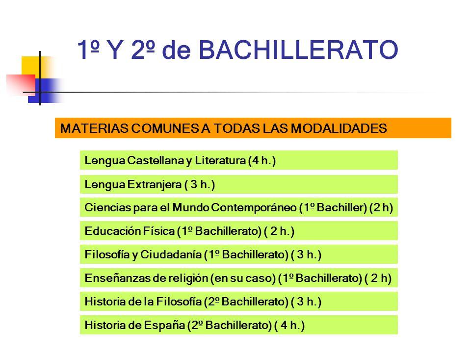 1º Y 2º de BACHILLERATO MATERIAS COMUNES A TODAS LAS MODALIDADES