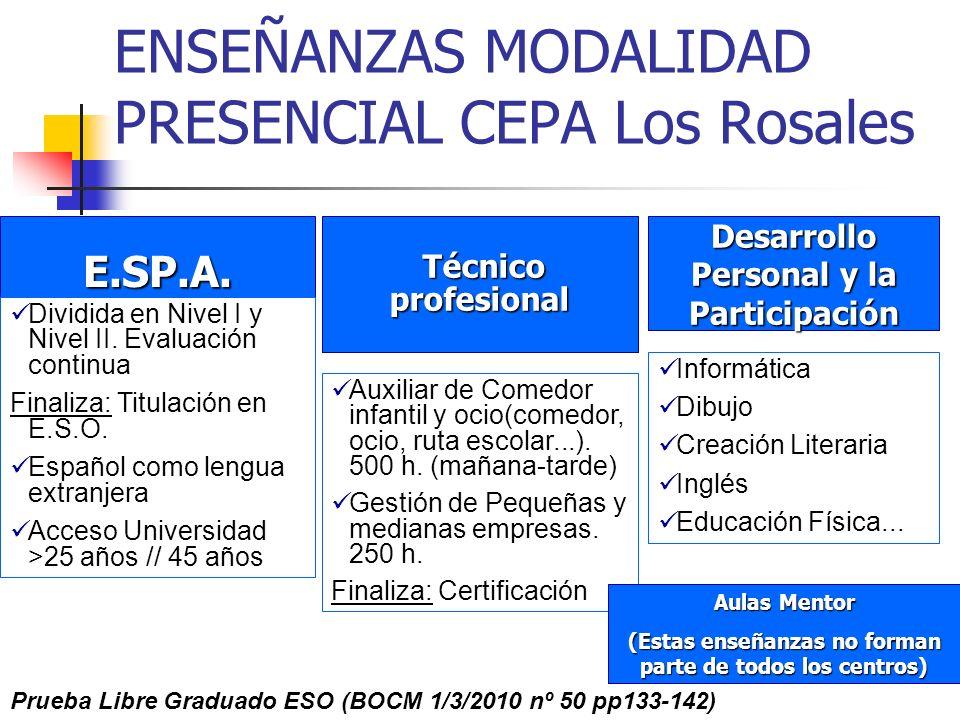 ENSEÑANZAS MODALIDAD PRESENCIAL CEPA Los Rosales