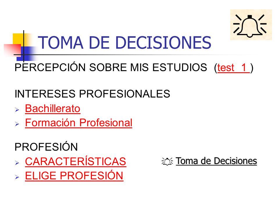  TOMA DE DECISIONES PERCEPCIÓN SOBRE MIS ESTUDIOS (test 1 )