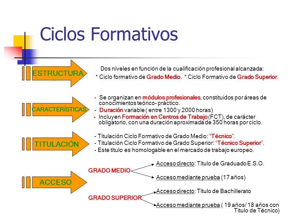 Ciclos Formativos ESTRUCTURA. Dos niveles en función de la cualificación profesional alcanzada: