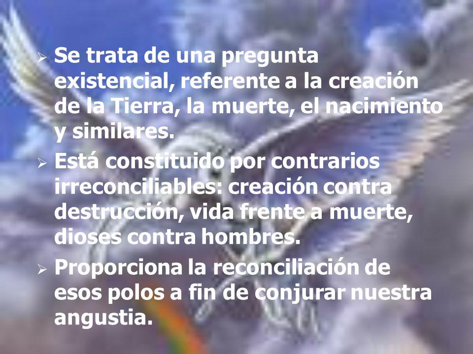 Se trata de una pregunta existencial, referente a la creación de la Tierra, la muerte, el nacimiento y similares.