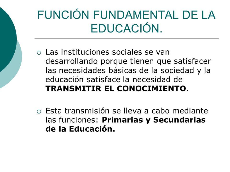 FUNCIÓN FUNDAMENTAL DE LA EDUCACIÓN.