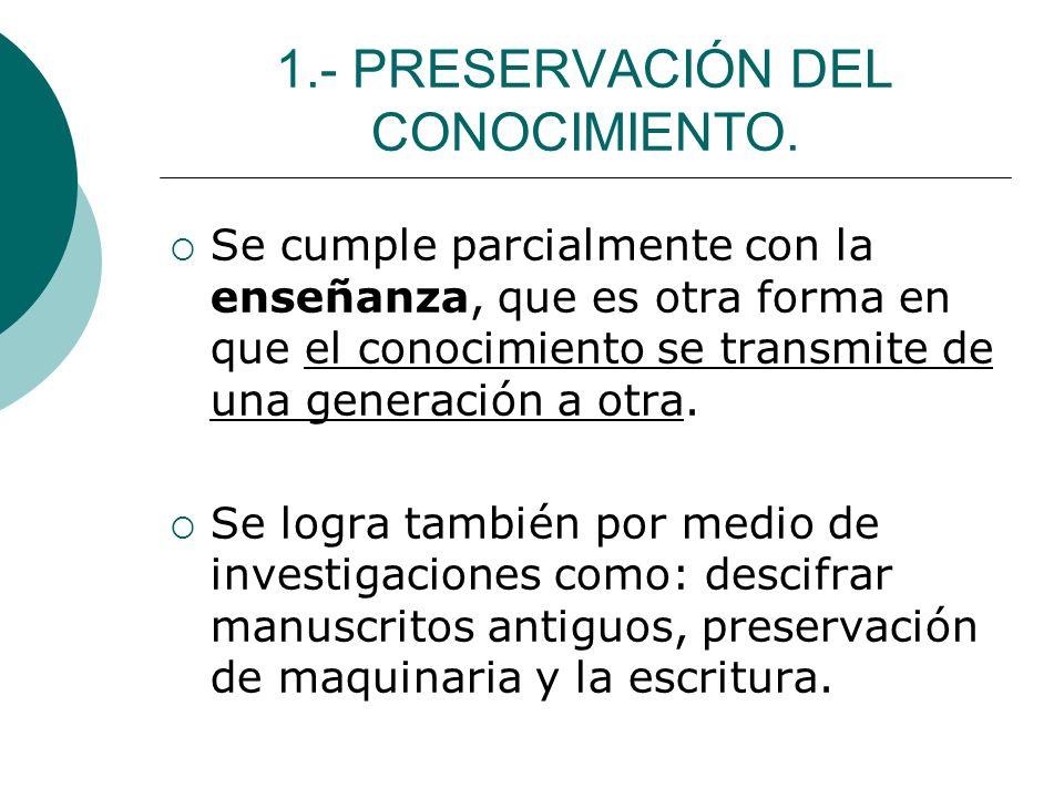 1.- PRESERVACIÓN DEL CONOCIMIENTO.