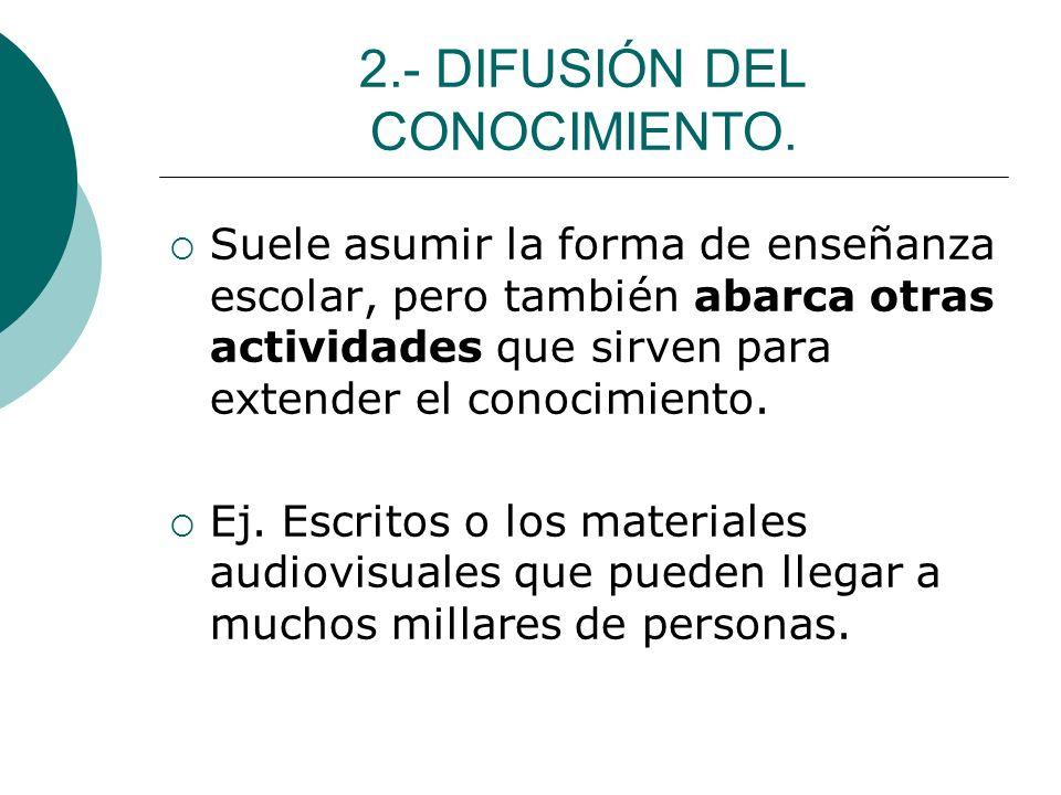 2.- DIFUSIÓN DEL CONOCIMIENTO.