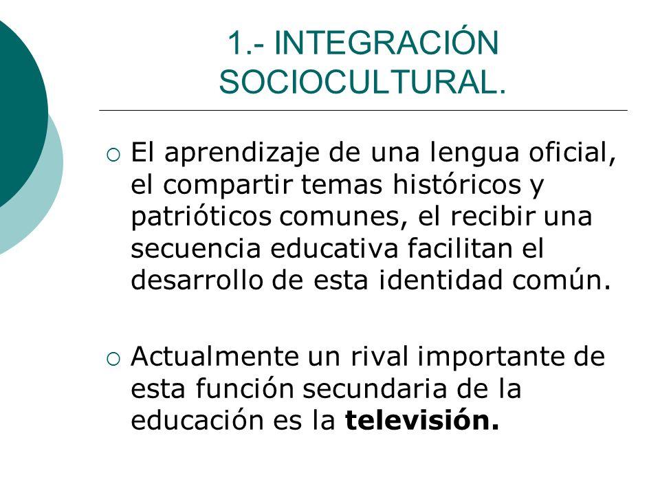 1.- INTEGRACIÓN SOCIOCULTURAL.