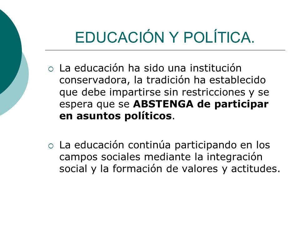 EDUCACIÓN Y POLÍTICA.