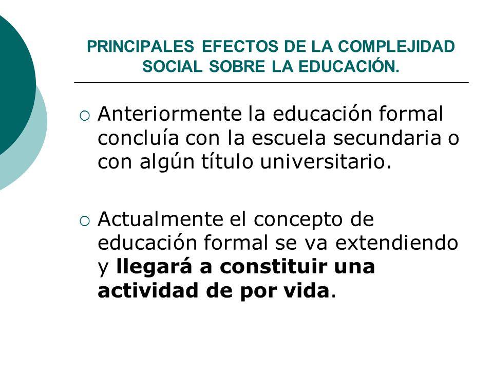PRINCIPALES EFECTOS DE LA COMPLEJIDAD SOCIAL SOBRE LA EDUCACIÓN.