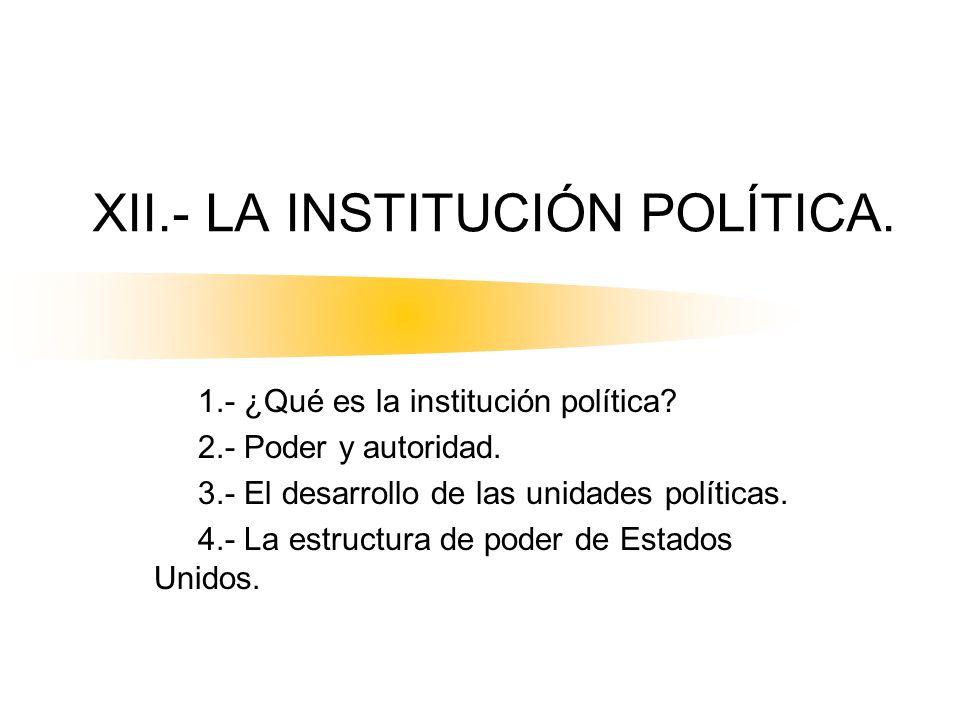 XII.- LA INSTITUCIÓN POLÍTICA.