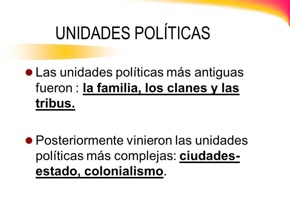 UNIDADES POLÍTICAS Las unidades políticas más antiguas fueron : la familia, los clanes y las tribus.