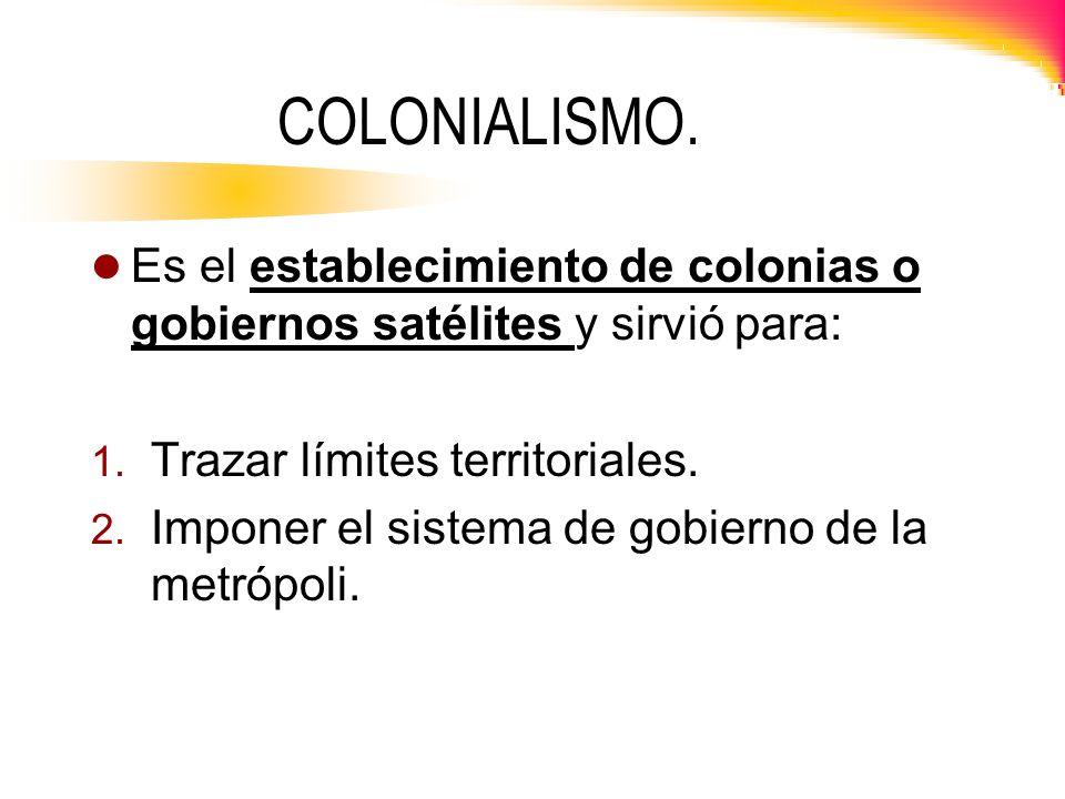 COLONIALISMO. Es el establecimiento de colonias o gobiernos satélites y sirvió para: Trazar límites territoriales.