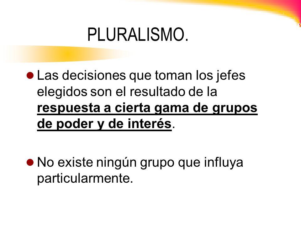 PLURALISMO. Las decisiones que toman los jefes elegidos son el resultado de la respuesta a cierta gama de grupos de poder y de interés.
