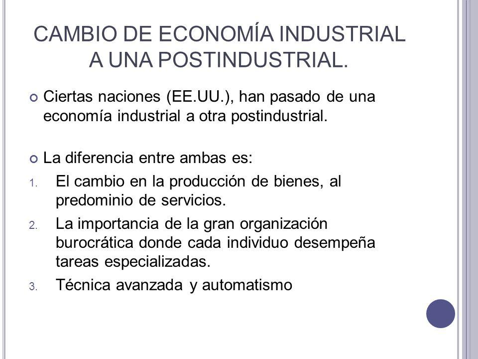 CAMBIO DE ECONOMÍA INDUSTRIAL A UNA POSTINDUSTRIAL.