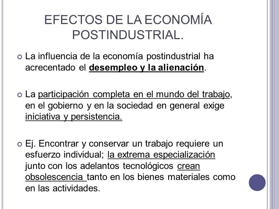 EFECTOS DE LA ECONOMÍA POSTINDUSTRIAL.