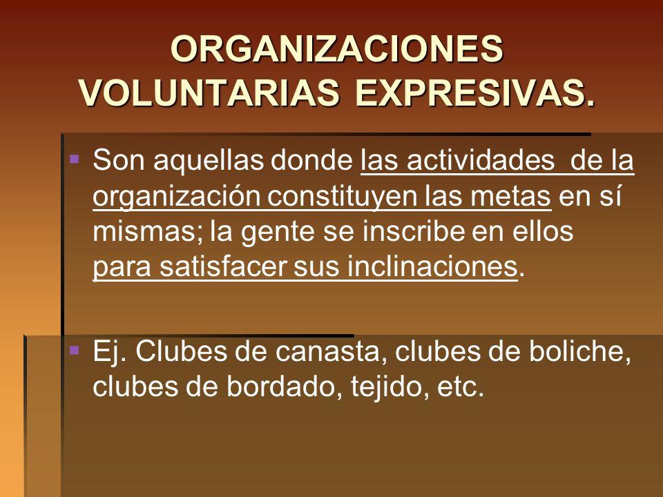 ORGANIZACIONES VOLUNTARIAS EXPRESIVAS.