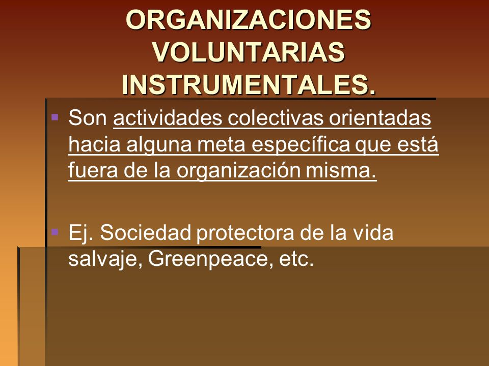ORGANIZACIONES VOLUNTARIAS INSTRUMENTALES.