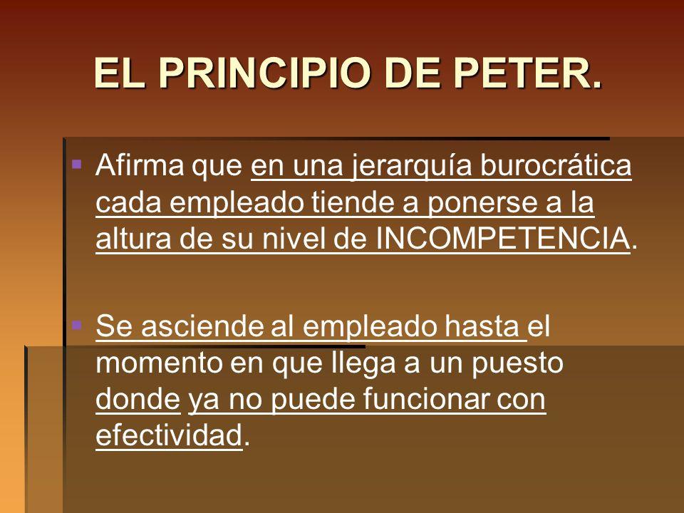 EL PRINCIPIO DE PETER.Afirma que en una jerarquía burocrática cada empleado tiende a ponerse a la altura de su nivel de INCOMPETENCIA.