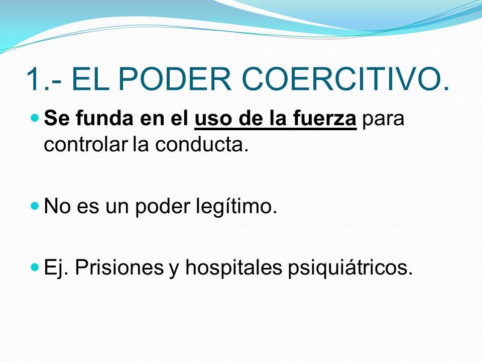 1.- EL PODER COERCITIVO. Se funda en el uso de la fuerza para controlar la conducta. No es un poder legítimo.