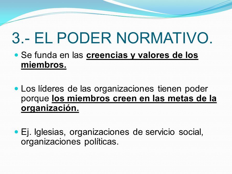 3.- EL PODER NORMATIVO. Se funda en las creencias y valores de los miembros.