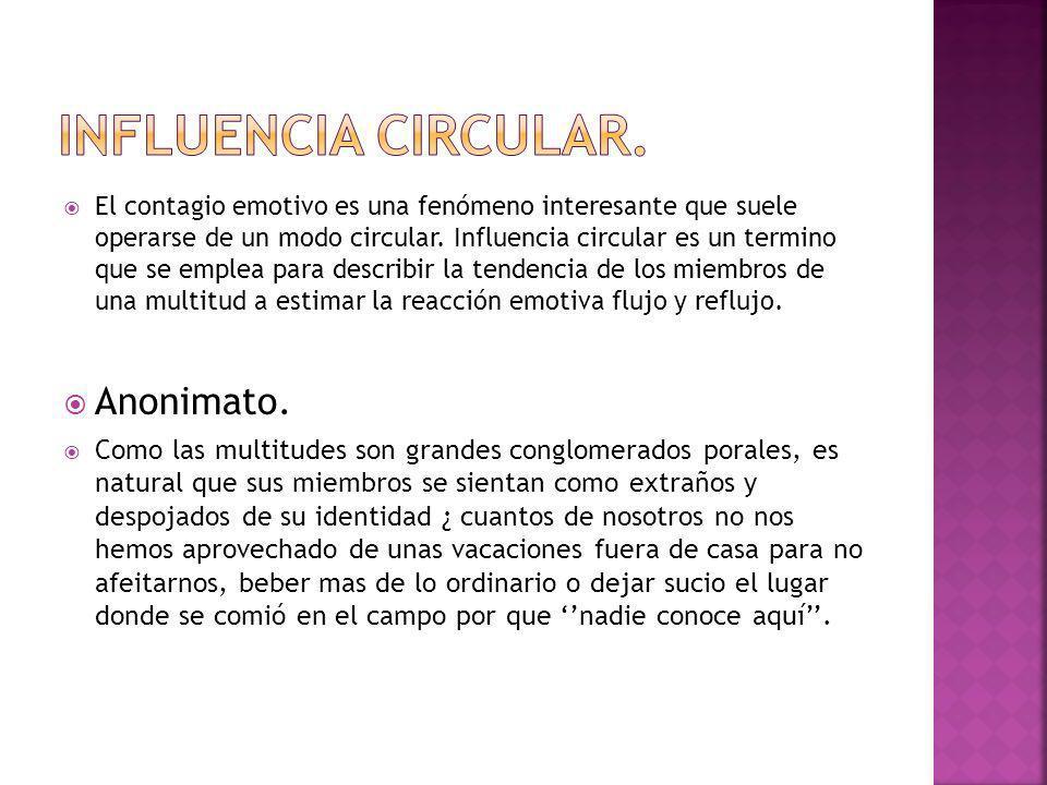 Influencia circular. Anonimato.