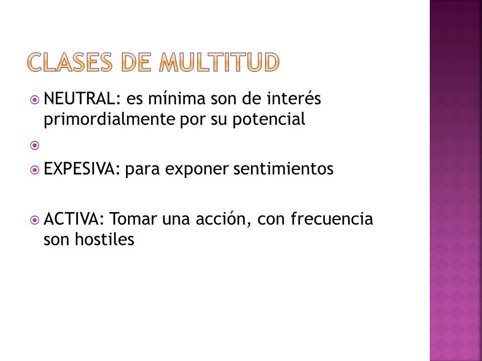 Clases de multitudNEUTRAL: es mínima son de interés primordialmente por su potencial. EXPESIVA: para exponer sentimientos.