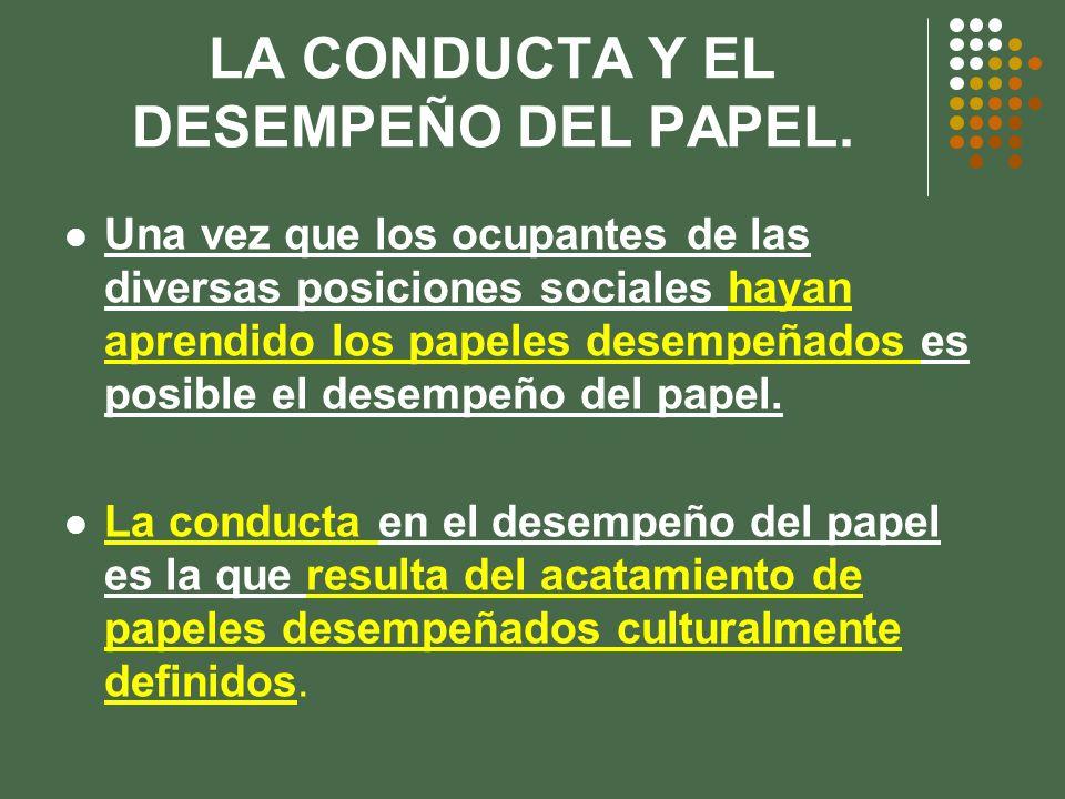 LA CONDUCTA Y EL DESEMPEÑO DEL PAPEL.