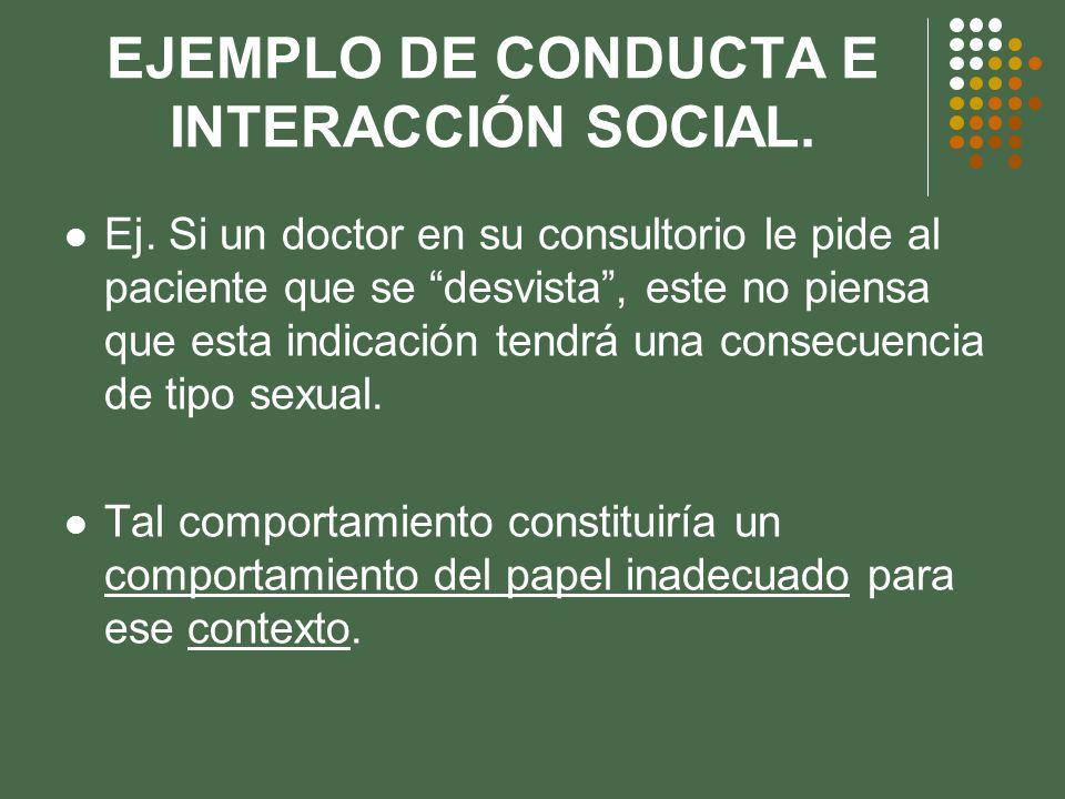 EJEMPLO DE CONDUCTA E INTERACCIÓN SOCIAL.