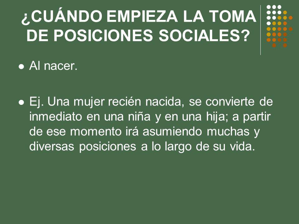 ¿CUÁNDO EMPIEZA LA TOMA DE POSICIONES SOCIALES