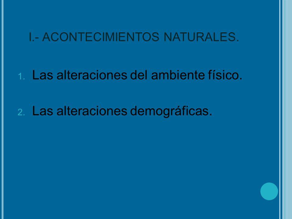 I.- ACONTECIMIENTOS NATURALES.