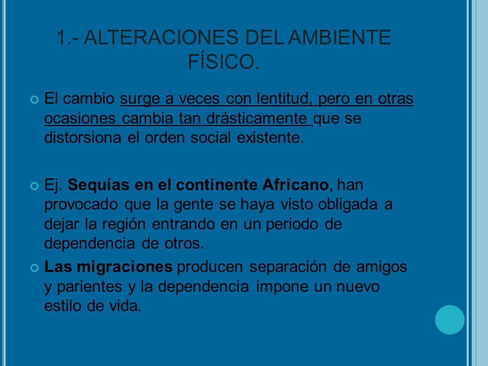 1.- ALTERACIONES DEL AMBIENTE FÍSICO.