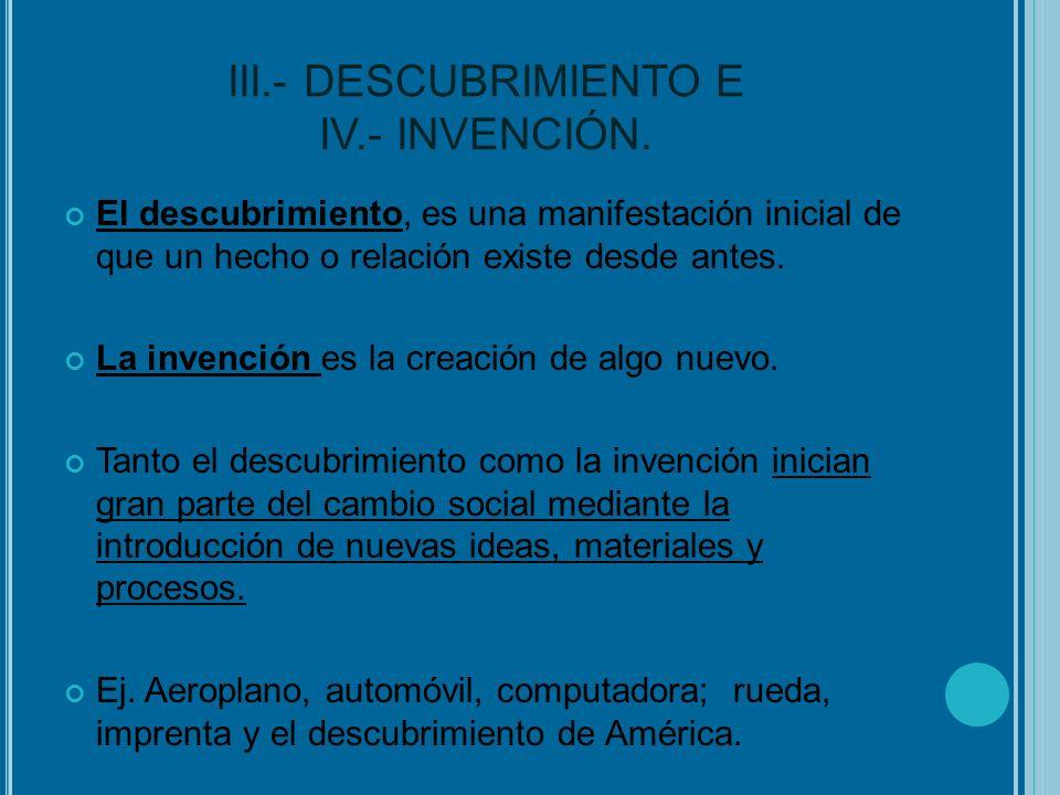 III.- DESCUBRIMIENTO E IV.- INVENCIÓN.