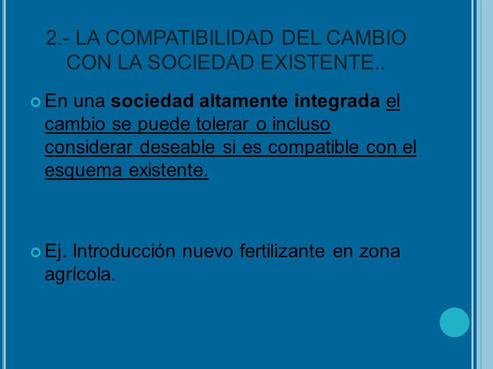 2.- LA COMPATIBILIDAD DEL CAMBIO CON LA SOCIEDAD EXISTENTE..