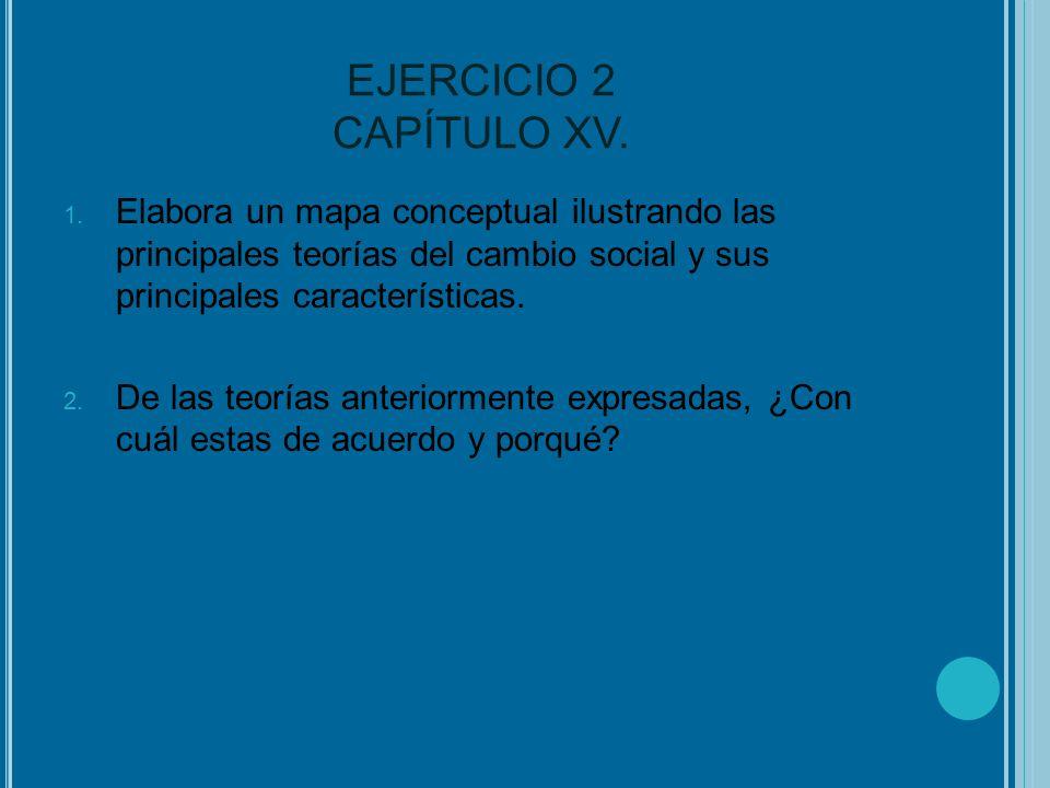 EJERCICIO 2 CAPÍTULO XV. Elabora un mapa conceptual ilustrando las principales teorías del cambio social y sus principales características.
