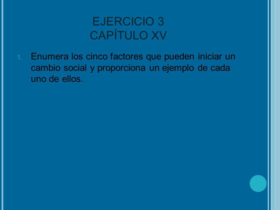 EJERCICIO 3 CAPÍTULO XV Enumera los cinco factores que pueden iniciar un cambio social y proporciona un ejemplo de cada uno de ellos.