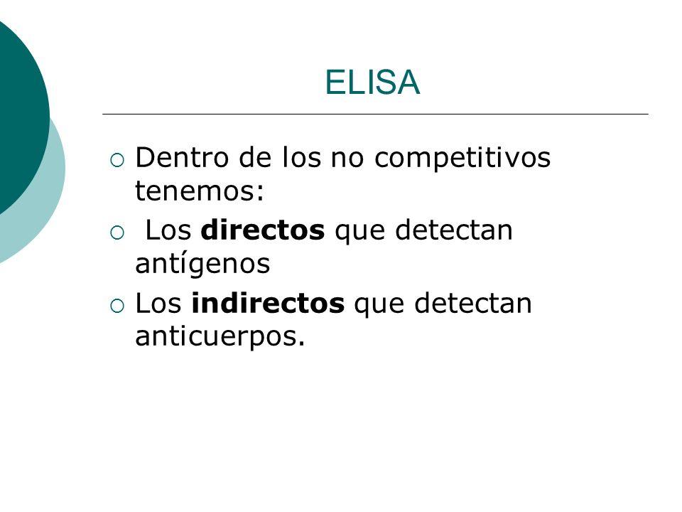 ELISA Dentro de los no competitivos tenemos: