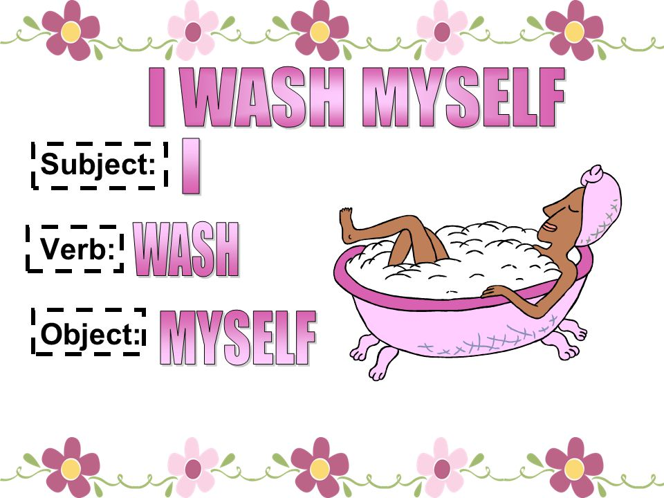 I WASH MYSELF Subject: Verb: Object: I WASH MYSELF
