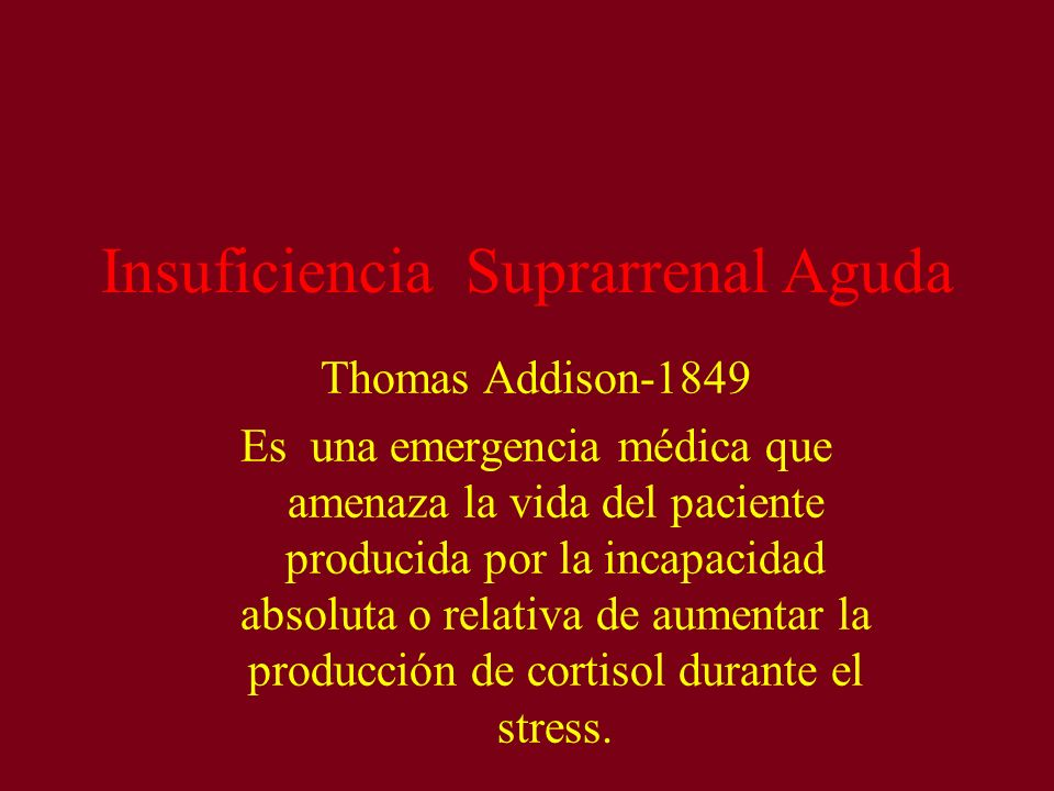 Insuficiencia Suprarrenal Aguda