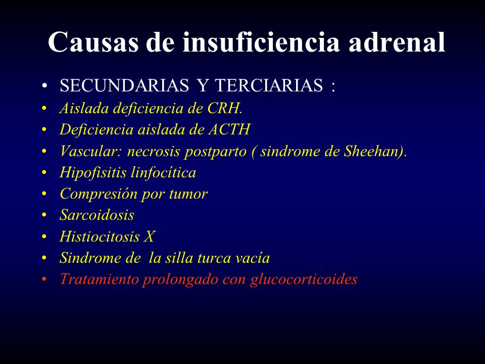 Causas de insuficiencia adrenal