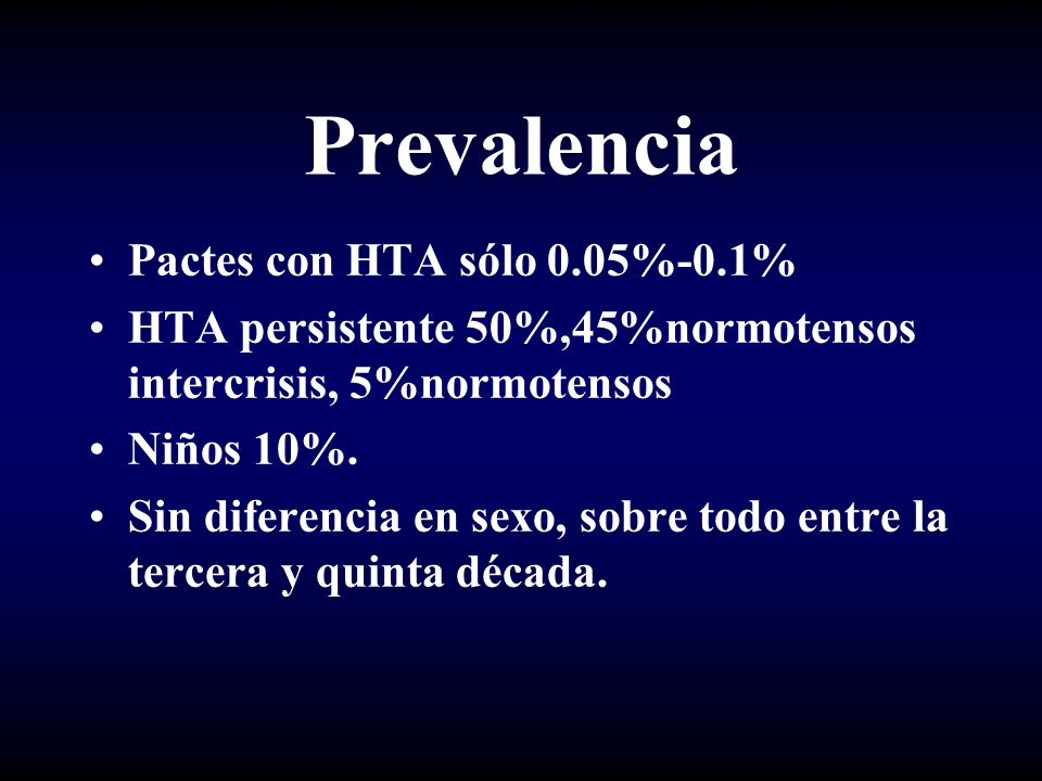 Prevalencia Pactes con HTA sólo 0.05%-0.1%