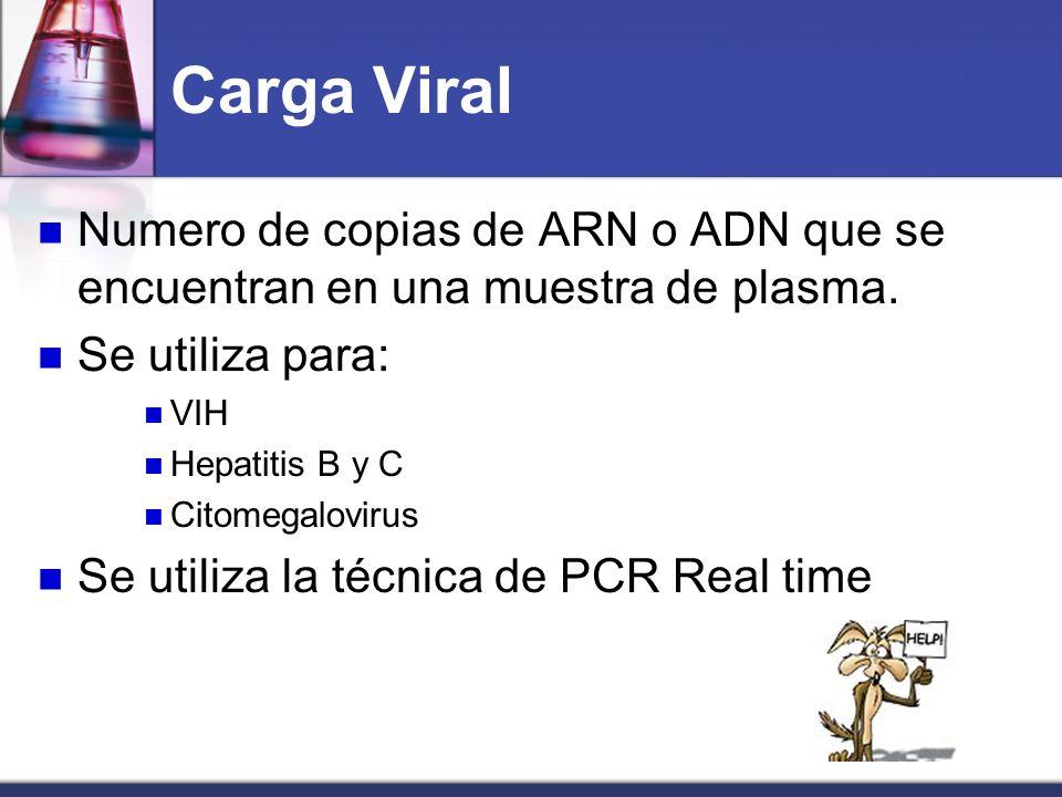 Carga Viral Numero de copias de ARN o ADN que se encuentran en una muestra de plasma. Se utiliza para: