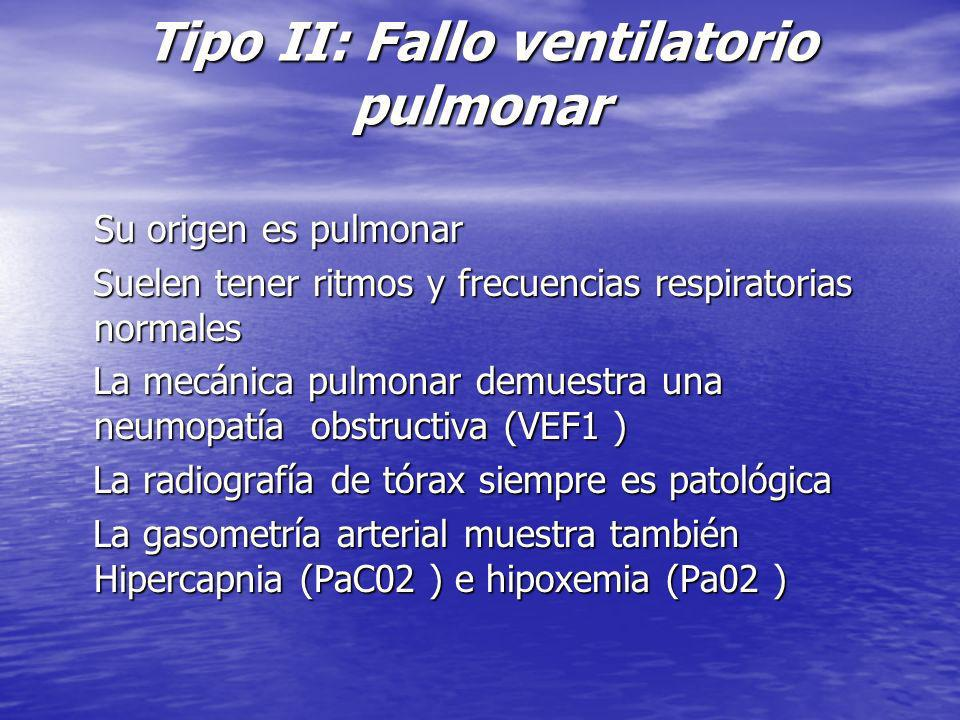 Tipo II: Fallo ventilatorio pulmonar