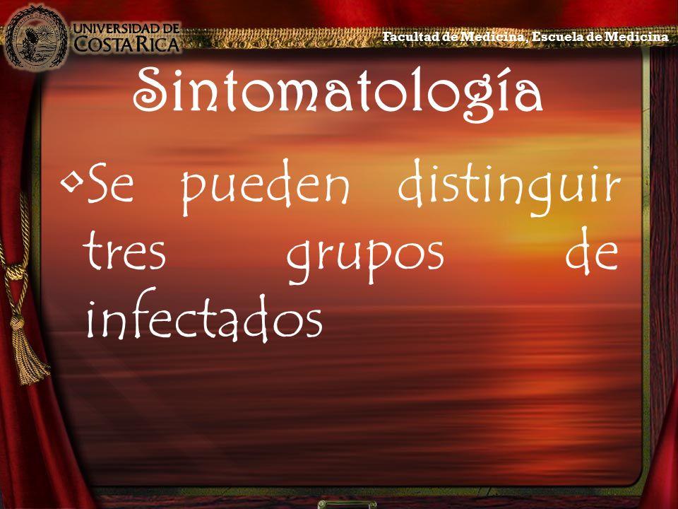 Sintomatología Se pueden distinguir tres grupos de infectados