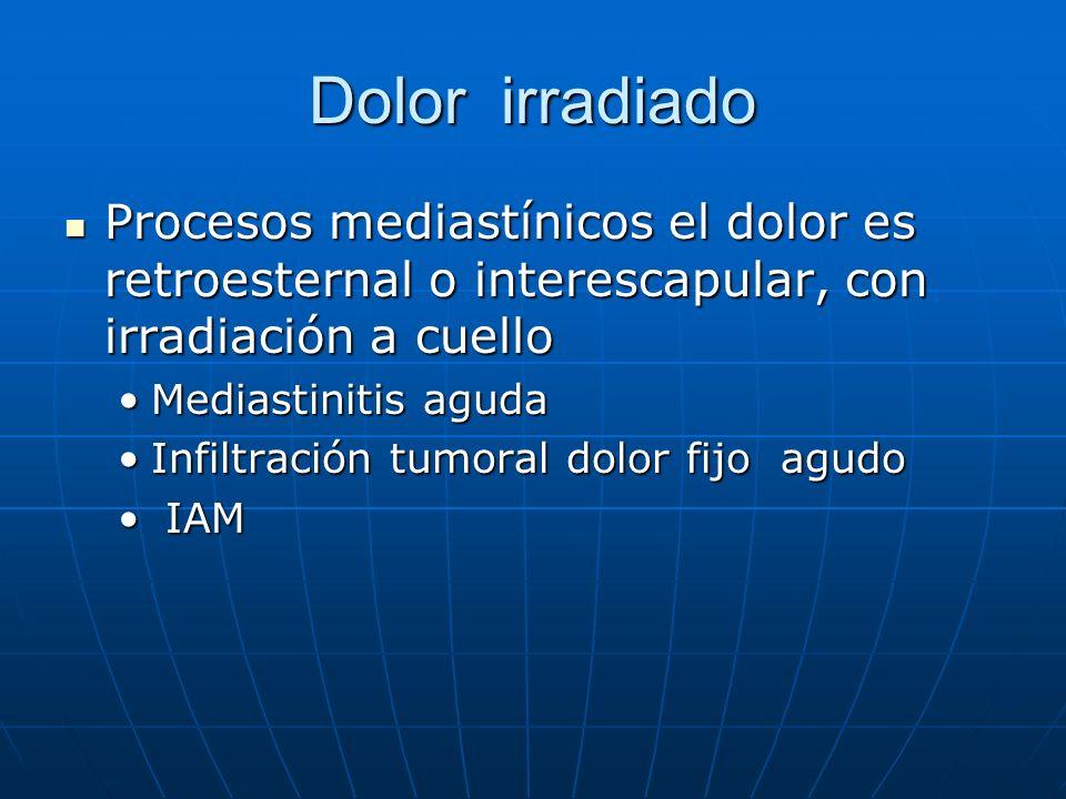 Dolor irradiado Procesos mediastínicos el dolor es retroesternal o interescapular, con irradiación a cuello.