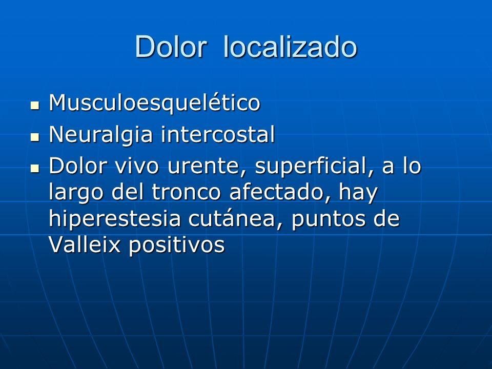 Dolor localizado Musculoesquelético Neuralgia intercostal
