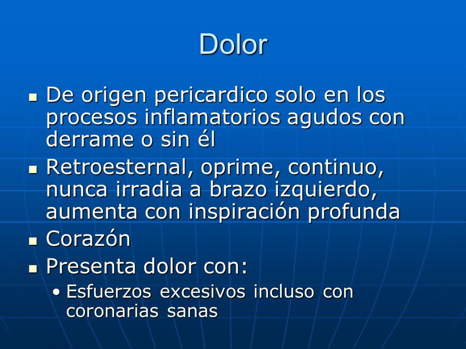 Dolor De origen pericardico solo en los procesos inflamatorios agudos con derrame o sin él.