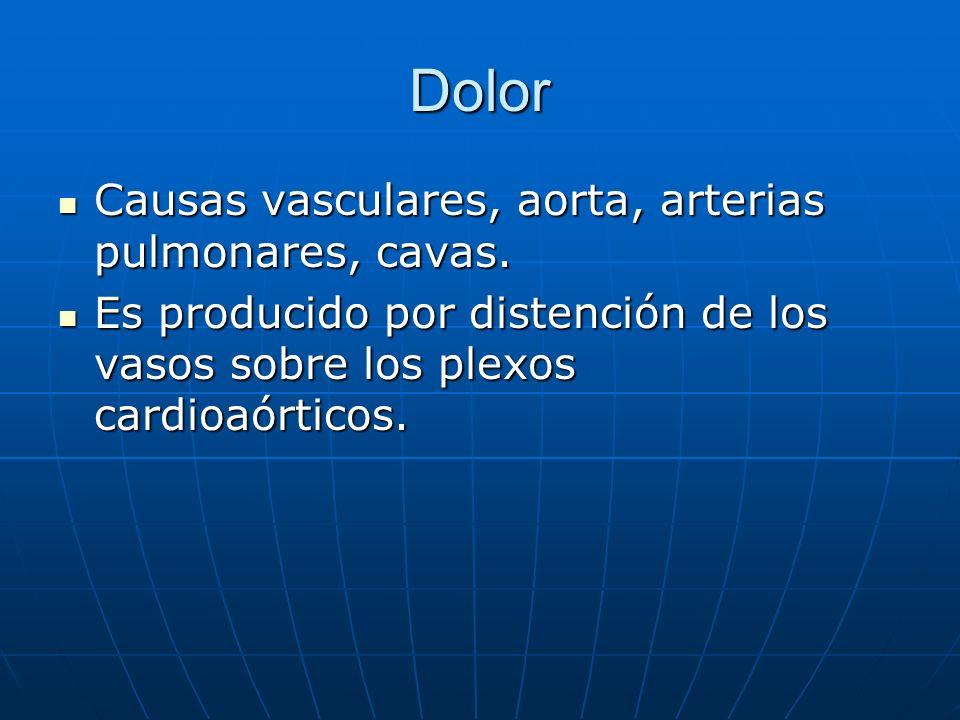 Dolor Causas vasculares, aorta, arterias pulmonares, cavas.