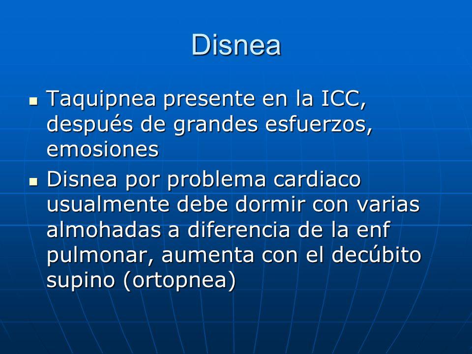 Disnea Taquipnea presente en la ICC, después de grandes esfuerzos, emosiones.